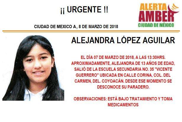 Alerta Ámber para localizar a Alejandra López Aguilar desaparecida en Coyoacán. (Twitter/ @PGJDF_CDMX)