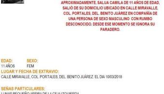 Activan Alerta Amber para localizar a menor en Benito Juárez