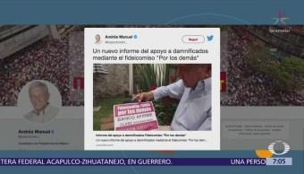 AMLO presenta en redes sociales informe sobre apoyos a damnificados de sismos
