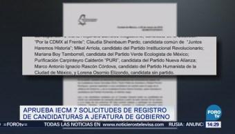 Aprueba IECM siete solicitudes de candidaturas a la jefatura de la CDMX