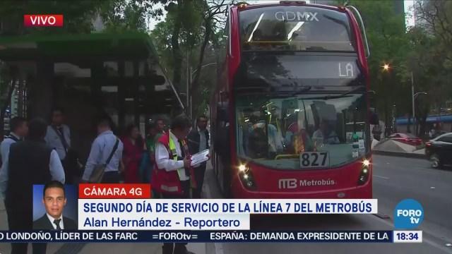 Aumenta aforo de pasajeros en segundo día de la L7 del Metrobús