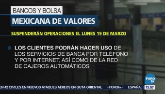 Bancos Bmv Suspenderán Operaciones Lunes 19 Marzo
