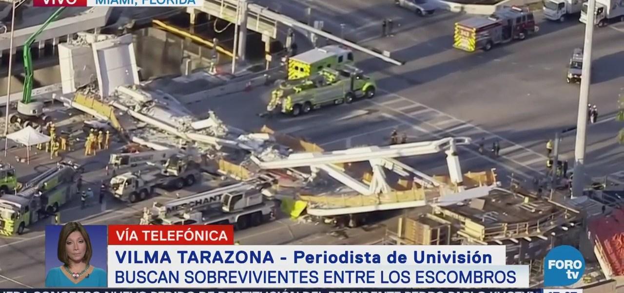 Buscan sobrevivientes entre escombros de puente colapsado