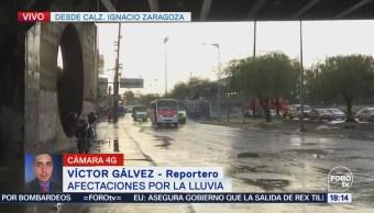 Calzada Ignacio Zaragoza, afectada por la lluvia