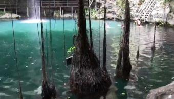 Indígenas mayas protegen el cenote 'Culebra del árbol' en Yucatán. (Noticieros Televisa)