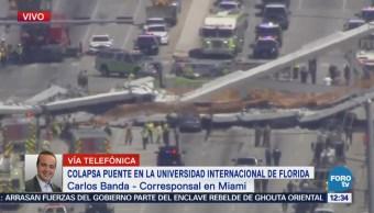 Conmoción tras colapso de puente en Universidad Internacional de Florida