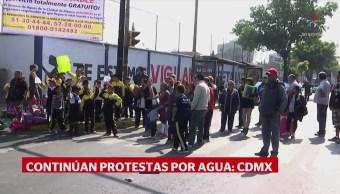Continúan protestas por agua en la CDMX