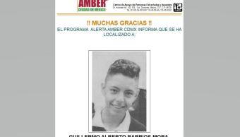 Desactivan Alerta Ámber para localizar a Guillermo Alberto Barrios Mora