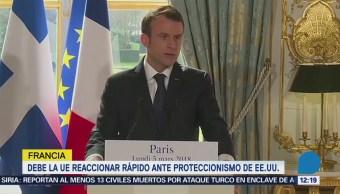 Emmanuel Macron pide a la Unión Europea reaccionar ante aumento de aranceles