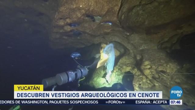 Encuentran vestigios arqueológicos de 1,000 años a.C. en cenote de Yucatán