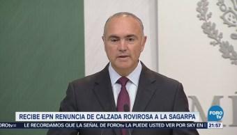 EPN recibe la renuncia de José Calzada, como titular de Sagarpa