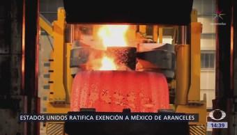EU ratifica que México queda exento de aranceles al acero y aluminio