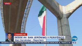 Instalan nueva bandera en San Jerónimo y Periférico