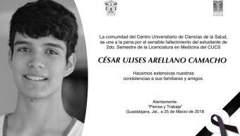 La UdeG confirma la muerte de alumno desaparecido en Guadalajara