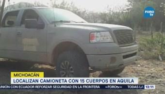 Localizan Camioneta 15 Cuerpos Aquila Michoacán