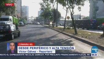 Manifestación provoca tráfico en Periférico y Alta Tensión, CDMX