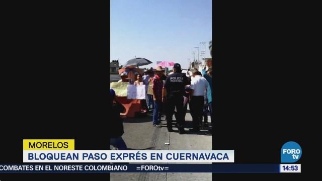 Manifestantes Bloquean Paso Express Cuernavaca