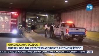 Mueren dos mujeres por accidente vial en túnel de Guadalara