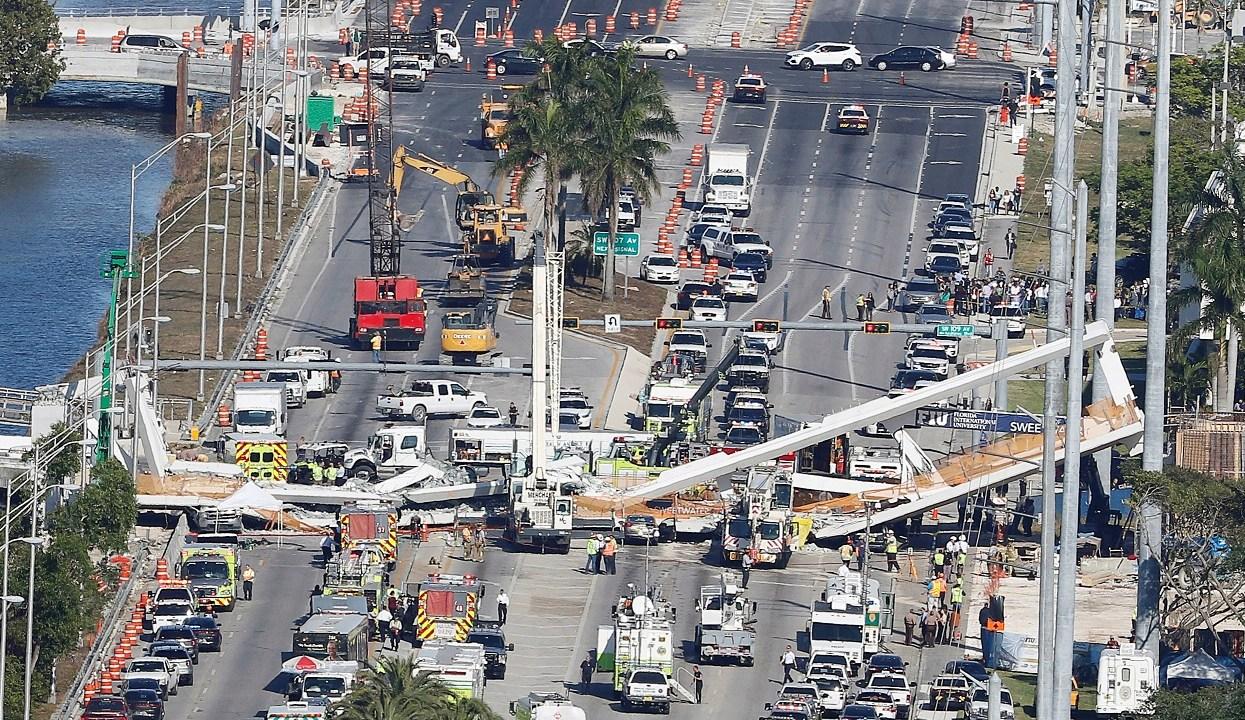 Confirman cuatro muertos derrumbe puente Miami