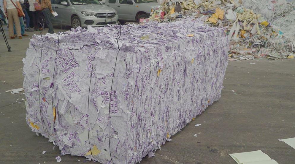Destruyen toneladas de papel y cartón sobrantes del proceso electoral en 2014