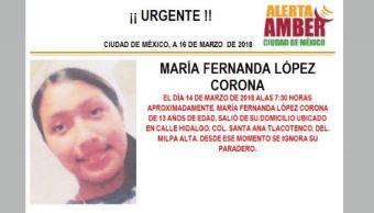 PGJCDMX activa la Alerta Ámber para localizar a María Fernanda