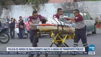 Policía CDMX resulta herido durante asalto a unidad de transporte público