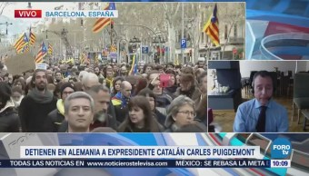Protestas en Barcelona por detención contra Puigdemont