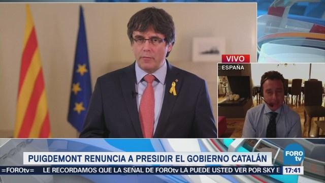 Puigdemont renuncia al Gobierno catalán