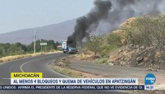 Reportan bloqueos en varios puntos de Apatzingán