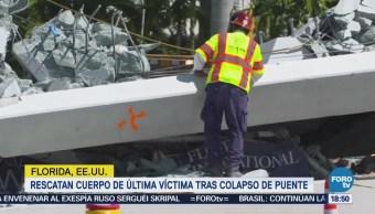 Rescatan cuerpo de última víctima tras colapso de puente en Florida