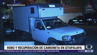 Robo y recuperación de camioneta en Iztapalapa