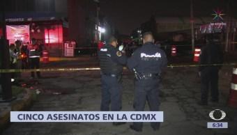 Se registran 5 homicidios dolosos en CDMX el fin de semana