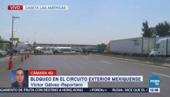 Suman cuatro horas de bloqueo en el Circuito Exterior Mexiquense