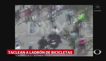 Taclean a ladrón de bicicletas en la CDMX