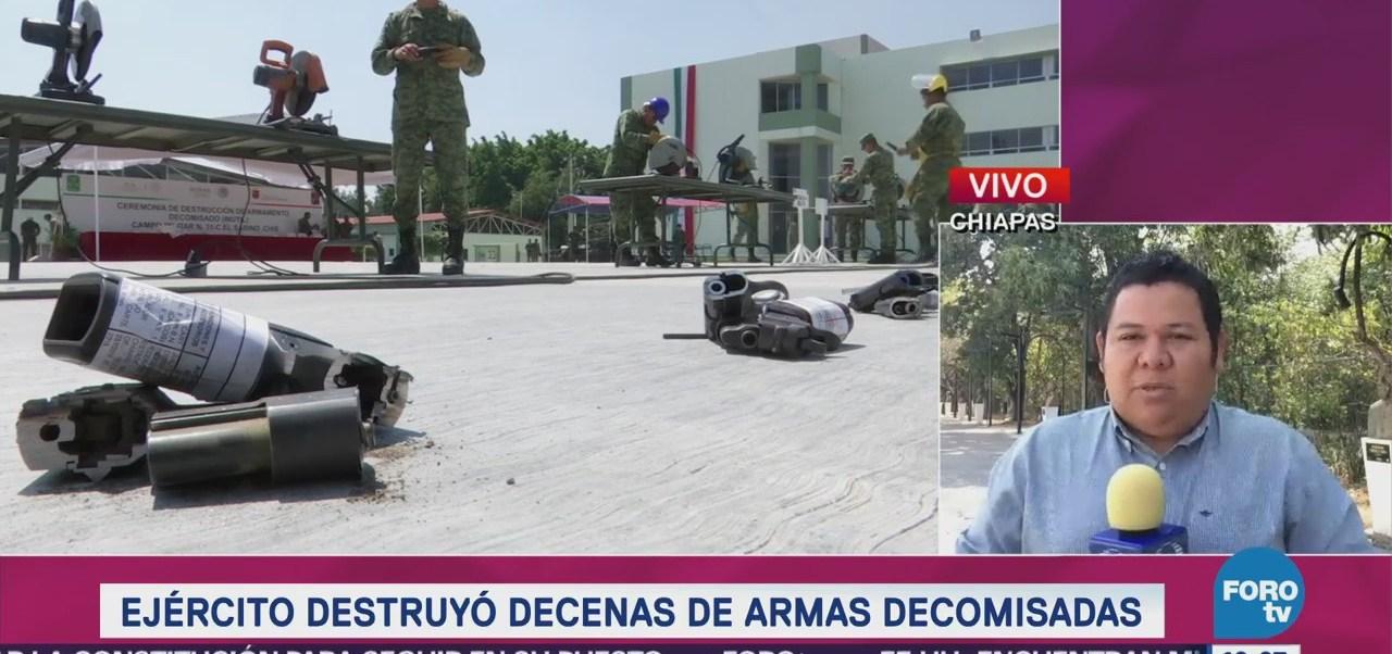 Ejercito Destruye Decenas Armas Decomisadas Chiapas