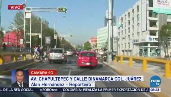 Tráfico intenso sobre avenida Chapultepec, CDMX