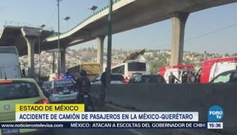 Accidente de camión de pasajeros en la México-Querétaro