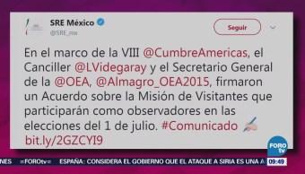 Almagro y Videgaray firman acuerdo sobre observadores en las elecciones del 1 de julio