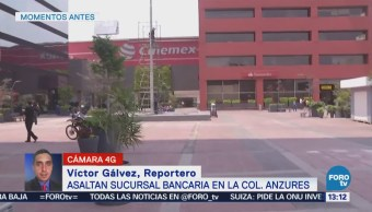 Asaltan sucursal bancaria en colonia Anzures, CDMX