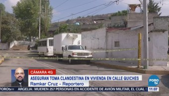 Aseguran toma clandestina en vivienda de Tlalnepantla, Edomex