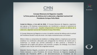 Consejo Mexicano de Negocios respalda postura de EPN