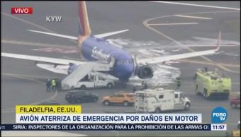 Daño en motor de avión provoca aterrizaje de emergencia en Philadelphia