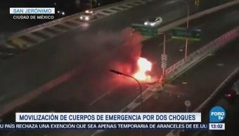 Dos choques dejan un muerto y un herido en la CDMX