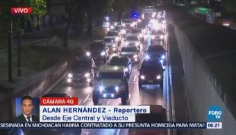 Eje Central y Viaducto presentan tránsito complicado en CDMX