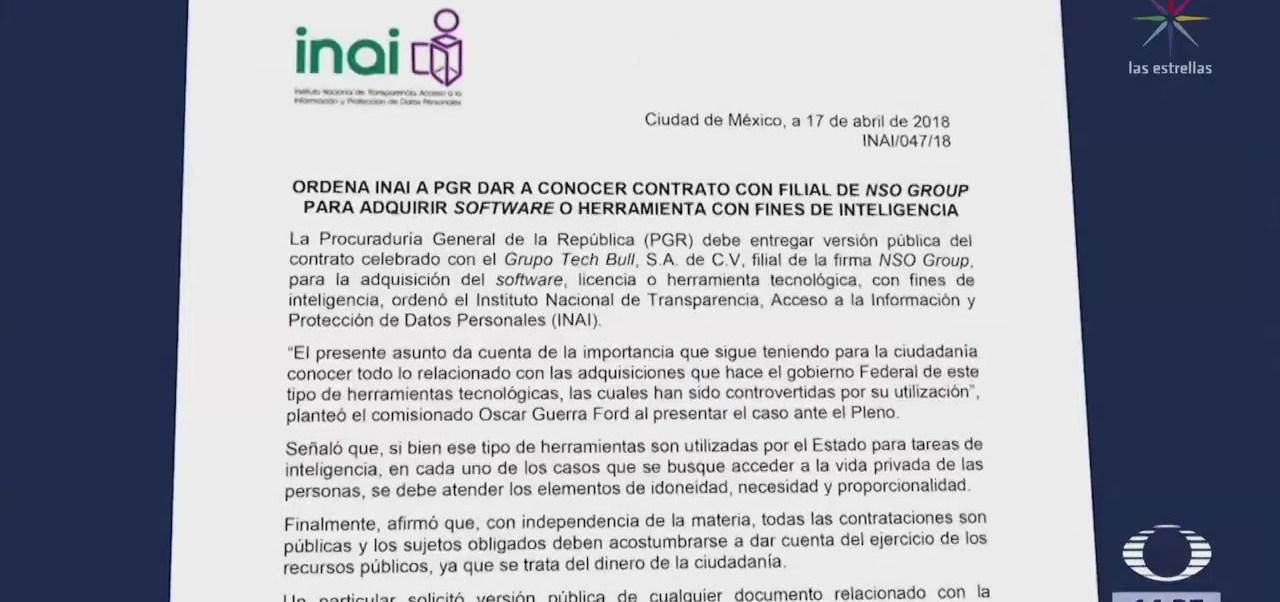 Inai Solicita Información Pgr Sobre Software Pegasus