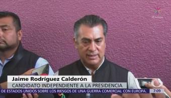 Jaime Rodríguez anuncia que abogados preparan propuesta para mochar manos a corruptos