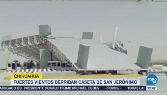 Fuertes Vientos Derriban Caseta San Jerónimo Chihuahua