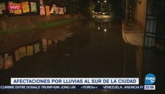Lluvia provoca inundaciones en colonias de Xochimilco