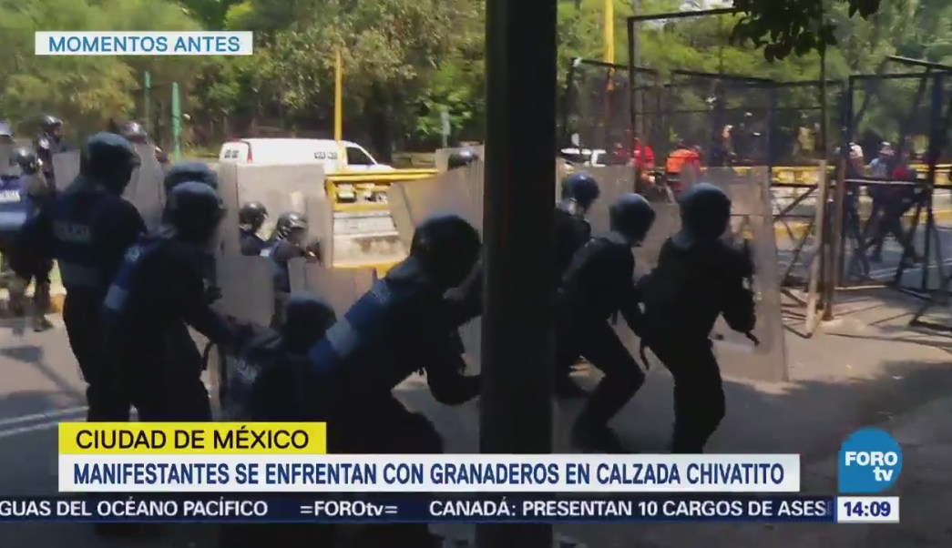 Manifestantes Enfrentan Granaderos Calzada Chivatito Cdmx