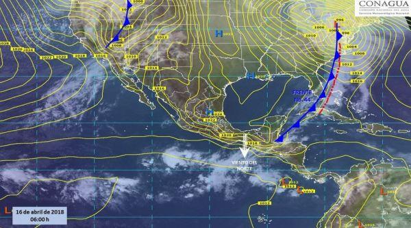 Mapa con el pronóstico del clima para este 16 de abril. (SMN)
